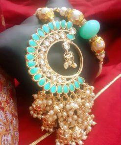 Jewel Semi precious kundan rakhi set with pearl container