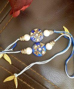 Elegant kundan rakhi (set of 2) blue