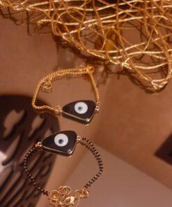 Black Beads Evil Eye Rakhi Set