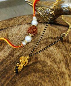 Black golden beads elegant lumba with rudraksh bhaiya rakhi set