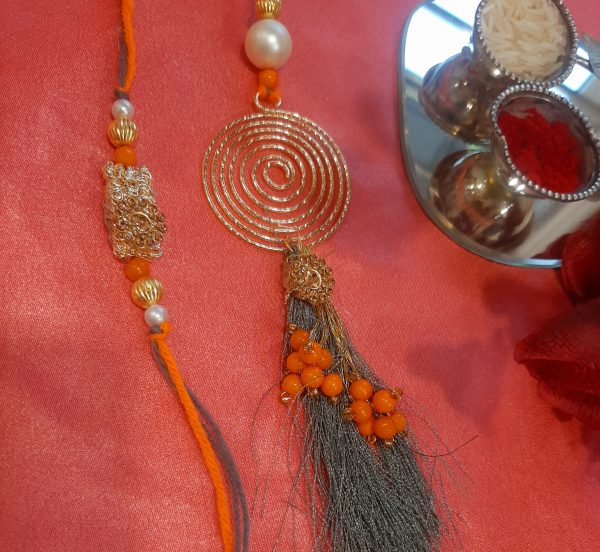 Exclusive Golden Indo Western Lumba Rakhi Set
