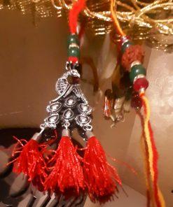 Ethnic Silver Oxidized Peacock Lumba