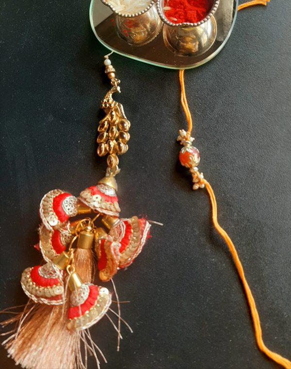 Heavy Peacock Lumba Rakhi Set
