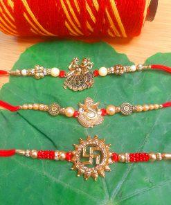 Dazzling Antique Set of 3 Metallic God Rakhi